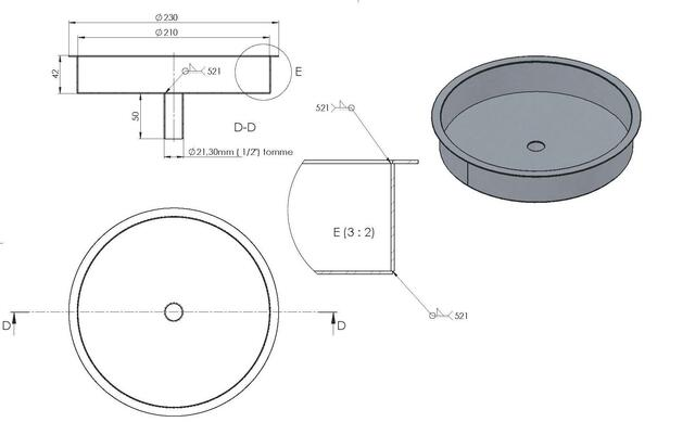 "Drip tray Ø230 mm round with ½ ""drain"